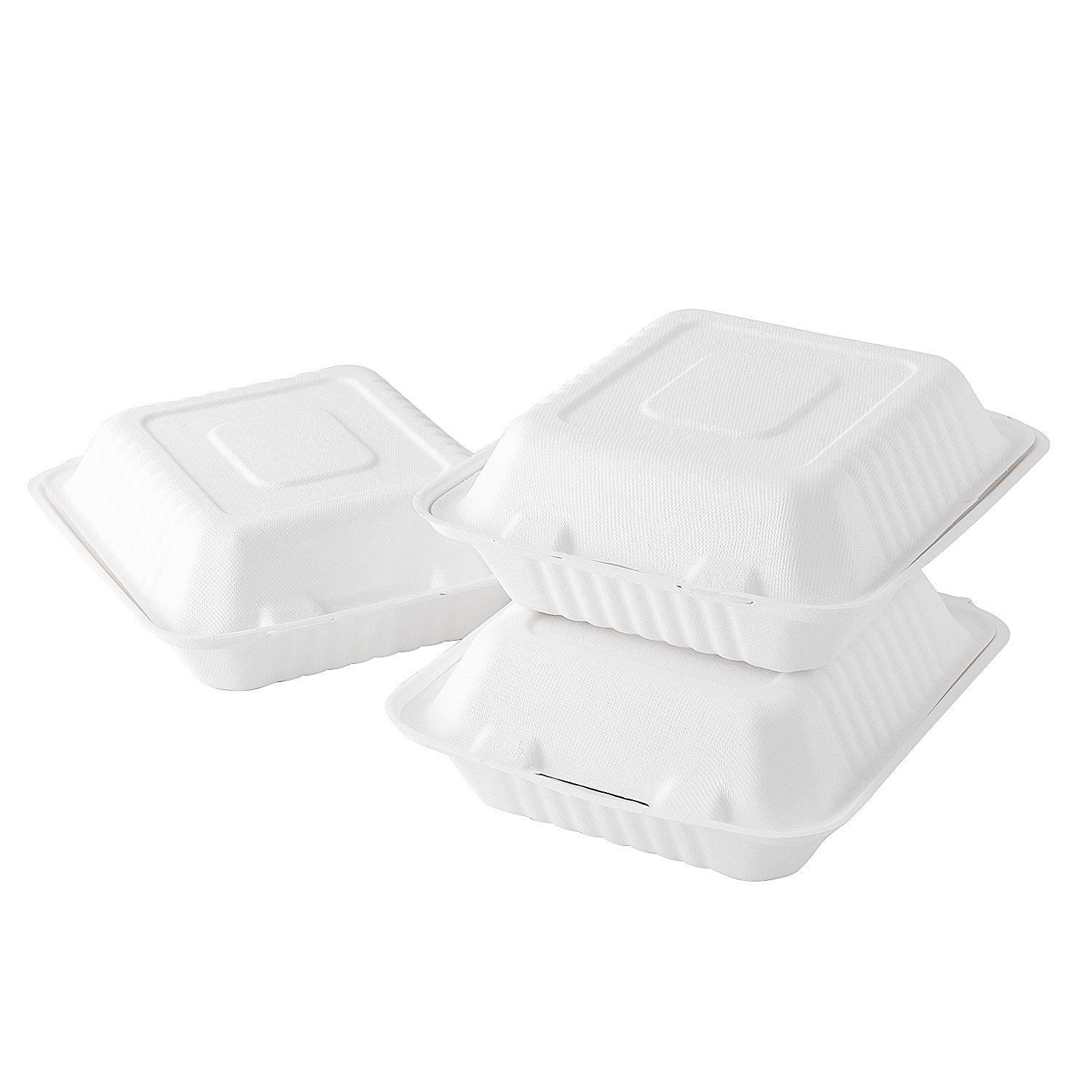 "8""x8"" x3'' Recyclable Bagasse Fast Food Clamshell Box"