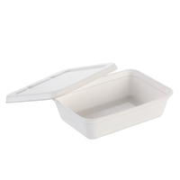 500ml Eco Green Bagasse Tray with Lid